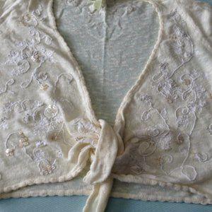 Sigrid Olsen Crop tie front cardigan - cream